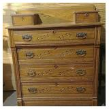 4 Drawer oak dresser with 2 handkerchief drawers