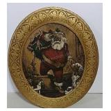 Unusual Oval Santa print