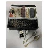 Tackle box full of eye glass frames and pieces