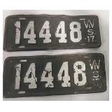 1917 Matching set of WI license plate