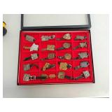 20 watch fobs in display case