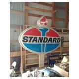 Double sided light up standard roadside sign