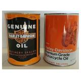 2- One quart Harley Davidson motor oil cans