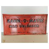 SST embossed Barn-O-Matic silo unloader sign