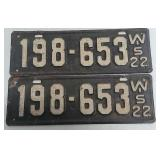Pair of 1922 Wisconsin license plates