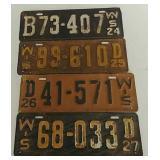 4 Vintage Wisconsin license plates