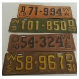 4 Wisconsin vintage license plates