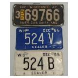 3 Wisconsin dealer and other WI license plates