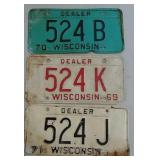 3 Wisconsin dealer license plates