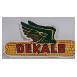Double sided masonite DeKalb sign with wings