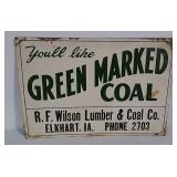 SST embossed Green Marked Coal sign