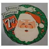 Double sided Cardboard 7up Santa advertising