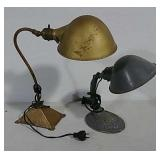 2 Art deco cast iron base desk lamps