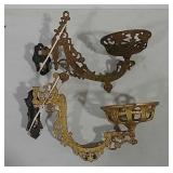 2 cast iron lamp brackets with wall mount