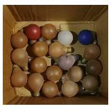 Box of old colored light bulbs