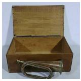 Wooden box and brass & copper bugle