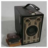 Box camera with a flash
