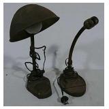 2 Art deco cast iron base desk lamps