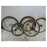 5 bicycle wheels