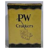 PW Crackers advertising tin