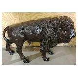 Metal buffalo yard art
