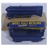 Blue American flyer engine and coal tender