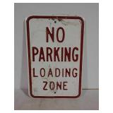 SST embossed No Parking Loading Zone sign