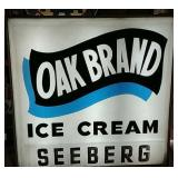 Light Up Oak Brand Ice Cream Sign