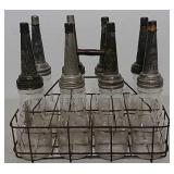 Oil bottles(spouted) with metal rack