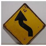 SS Old curve symbol heavy metal road sign