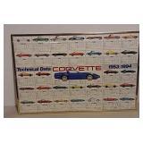 1953- 1994 Corvette specs framed chart