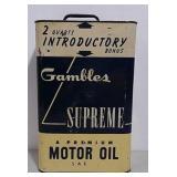 10 Quart Gambles Motor Oil can