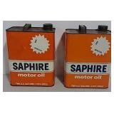 2- 2 gallon Gulf oil Saphire oil cans