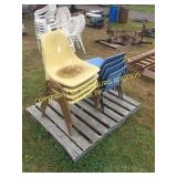 LOT OF BLUE/ BROWN POLY CHAIRS