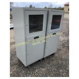 (2) LOCKING METAL CABINETS W/GLASS FRONT TOP DOORS