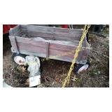 RADIO FLYER WOODEN WAGON & CONCRETE ANGEL