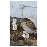 CONCRETE  YARD ART & (3) ALUMINUM WASH TUBS
