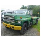 1988 FORD F-600 W/ DUMPING FLATBED