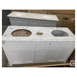 Bathroom vanity double sink color white with top