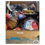 Surplus assorted merchandise, blades, gloves, sand