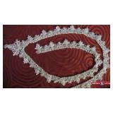 Large V Neck Beaded Applique. Beads and pearls. V