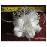 Headpiece. Fabric flower with pearl beads with