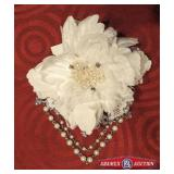 Hairpin. Fabric and lace flower with pearl beads.