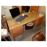 """65""""x30"""" Desk W/ Glass Top"""
