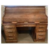 Modern Oak Roll Top Desk