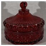 "Ruby ""Eye Winker"" Covered Candy Dish"