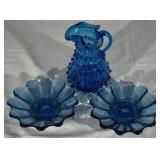 Blue Hobnail Pitcher & 2 Blue Candle Holders