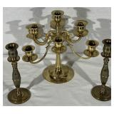 Brass Candelabra and 2 Brass Candle Sticks