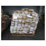 A PALLET WITH BOXES OF ASSORTED AUTOMOTIVE PARTS