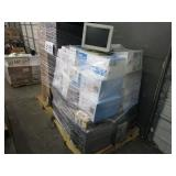 A PALLET WITH ASSORTED PRINTERS INK & COMPUTERS
